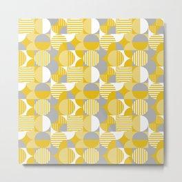 Modern Geometric Pattern, Yellow, Gray, White Metal Print