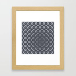 8 Point Star Pattern (Industrial Blue Grey on Dove Grey) Framed Art Print