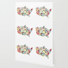 united flowers of america // watercolor floral flower map of the united states usa us Wallpaper