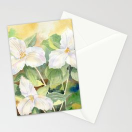 Trillium Wildflowers Watercolor  Stationery Cards