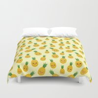 pineapples Duvet Covers featuring Pineapples by Sara Showalter