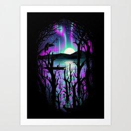 Night With Aurora Art Print