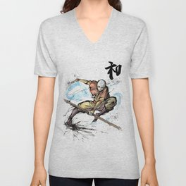 Aang from Avatar the Last Airbender sumi/watercolor Unisex V-Neck