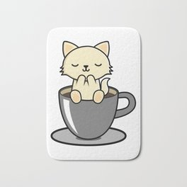 Cute Kitten Cat And Coffee Gifts For Cat Lovers Bath Mat