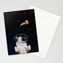 Pug and Pizza Space Stationery Cards