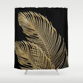 Palm Leaves Finesse Line Art with Gold Foil #1 #minimal #decor #art #society6 Shower Curtain