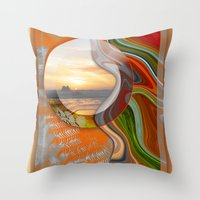 pushing daisies Throw Pillows featuring Pushing Paradise by Brenda Starr