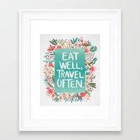 eat well travel often Framed Art Prints featuring Eat Well, Travel Often Bouquet  by Cat Coquillette