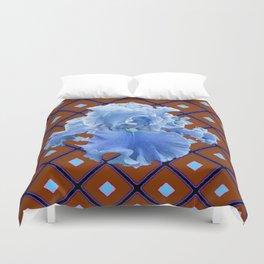 Chocolate Brown & Blue Iris Pattern Art Duvet Cover