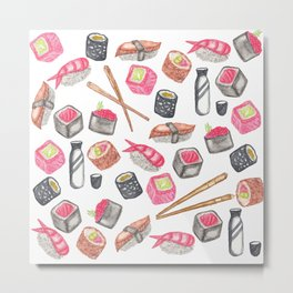 Cute Trendy Watercolor Sushi Sake and Chopsticks Metal Print