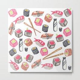 Cute Trendy Watercolor Sushi Sake and Chopsticks Metal Print