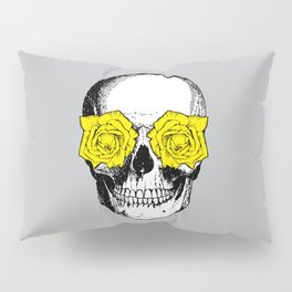 Skull and Roses | Grey and Yellow Pillow Sham