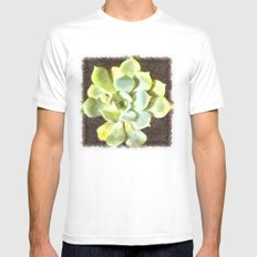 Succulent Garden Plant With Dew Mens Fitted Tee White MEDIUM