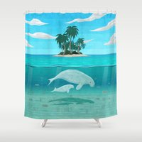 manatee Shower Curtains featuring Manatee Island by Lidra