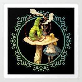 Alice and the Smoking Caterpillar - Alice in Wonderland Art Print