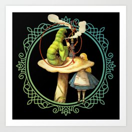 Alice and the Smoking Caterpillar - Alice in Wonderland Kunstdrucke