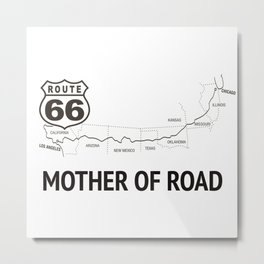 Mother Of Road - Route 66 (white) Metal Print