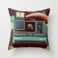 polaroid Throw Pillows featuring polaroid by Angela Mia Photography