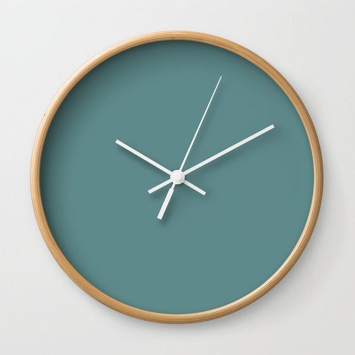 Steel Teal - solid color Wall Clock