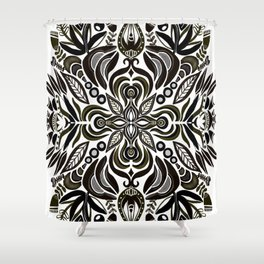 Dark Folk Flowers by Lori Perez Shower Curtain