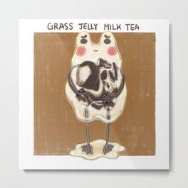 grass jelly milk tea monster Metal Print