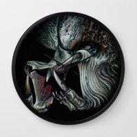 predator Wall Clocks featuring Predator by Shannon Laing