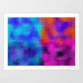 orange blue pink plaid pattern Art Print