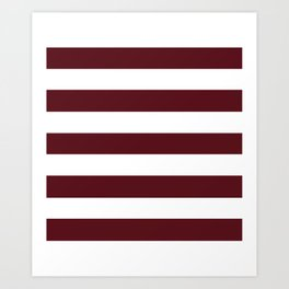 Chocolate cosmos - solid color - white stripes pattern Art Print