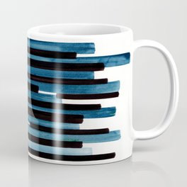 Marine Blue Primitive Striped Mid Century Modern Minimalist Watercolor Gouache Painting Colorful Str Coffee Mug