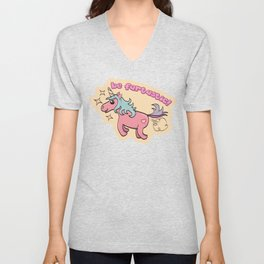 Be fartastic farting unicorn Unisex V-Neck