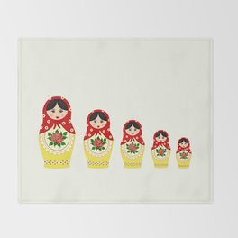 Red russian matryoshka nesting dolls Throw Blanket