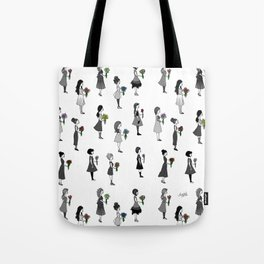 Ladies Holding Flowers Tote Bag