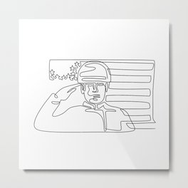 American Soldier Saluting USA Flag Continuous Line Metal Print