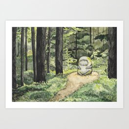 Statue in a Forest Watercolor Painting Art Print