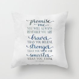 Braver - Christopher Robin Typography Quote.  Throw Pillow