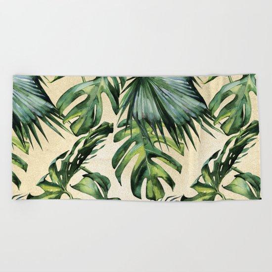 Palm Leaves Greenery Linen Beach Towel