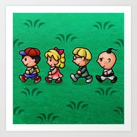 earthbound Art Prints featuring Earthbound Guys by likelikes