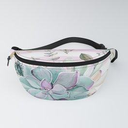 Simply Succulent Garden on Desert Rose Pink Striped Fanny Pack
