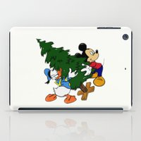 donald duck iPad Cases featuring Mickey Mouse and Donald Duck with christmas tree by Yuliya L