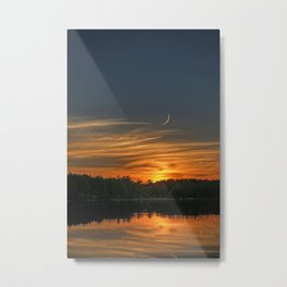 Sunset, Lake, Pine Forest & Crescent Moon Composite Metal Print