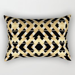 Gold Foil and Black Art Deco Chevron Rectangular Pillow