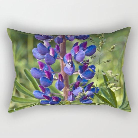 Summer Meadow with Blue Lupine Rectangular Pillow