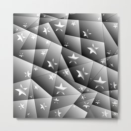 Metallic pattern of chaotic black and white fragments of glass, foil, highlights and silver stars. Metal Print