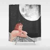 blanket Shower Curtains featuring Moon Blanket by Sophie Le