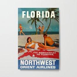 Florida 1959 Vintage Travel Poster Metal Print