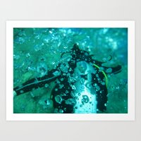 diver Art Prints featuring Diver by gustav butlex