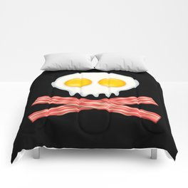 Skull With Crossed Bacon  Skull Bacon Eggs Comforters