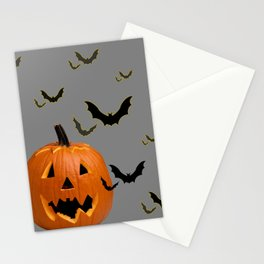HALLOWEEN FLYING  BLACK BATS & CARVED PUMPKIN FACE Stationery Cards