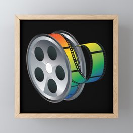 Film reel with colorful tape Framed Mini Art Print