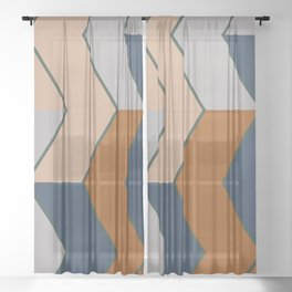Modern Fall Winter Color Pattern Sheer Curtain